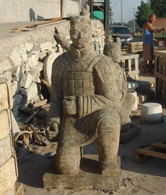 ASIAN WARRIOR STATUE CARVED FROM GRAY MARBLE, SIMILAR TO TERRA COTTA WARRIERS
