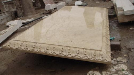 "HAND CARVED MARBLE TABLE TOP IN EGYPTIAN BIEGE, 79"" LONG Measures: 79 long x 36 wide x 2.4 thick."
