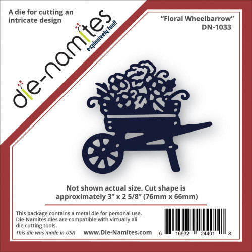 """Die-Namites Die: Floral Wheelbarrow, 3""""X2.625"""""""