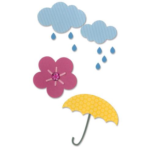 Sizzix Thinlits Dies by Doodlebug Design Inc.: Cloud, Flower, Rain, Umbrella