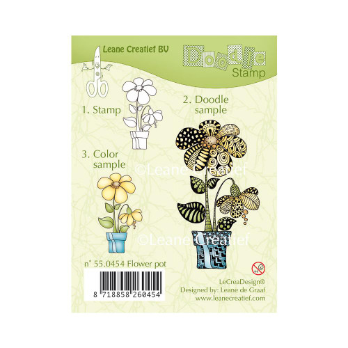 Leane Creatief Clear Doodle Stamps: Flower Pot