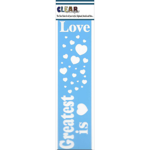ClearScraps 3x12 Border Stencil: Greatest Is Love