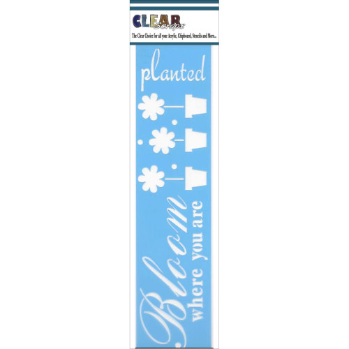 ClearScraps 3x12 Border Stencil: Bloom Where You Are Planted