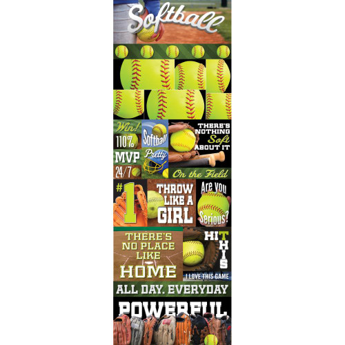 Reminisce Real Sports Cardstock Sticker: Softball Graphic