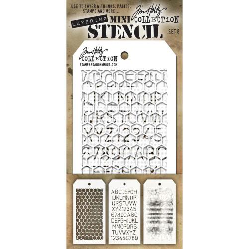 Tim Holtz Mini-Stencil Sets (3/Pkg): Set 8