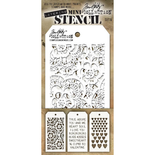Tim Holtz Mini-Stencil Sets (3/Pkg): Set 6