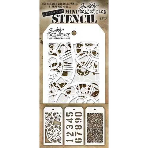 Tim Holtz Mini-Stencil Sets (3/Pkg): Set 2