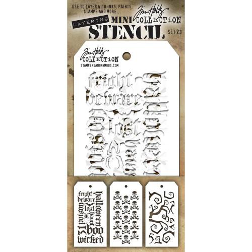 Tim Holtz Mini-Stencil Sets (3/Pkg): Set 23