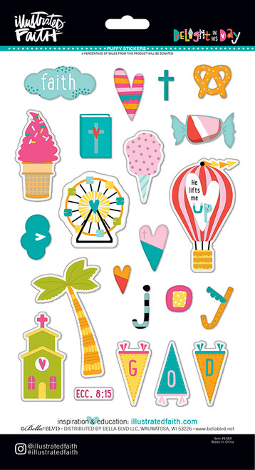 Illustrated Faith Delight in His Day Icons Puffy Stickers