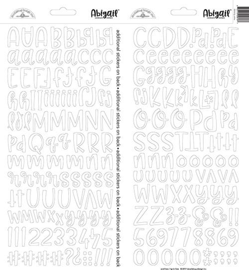 Doodlebug Abigail Alpha Sticker: Lily White
