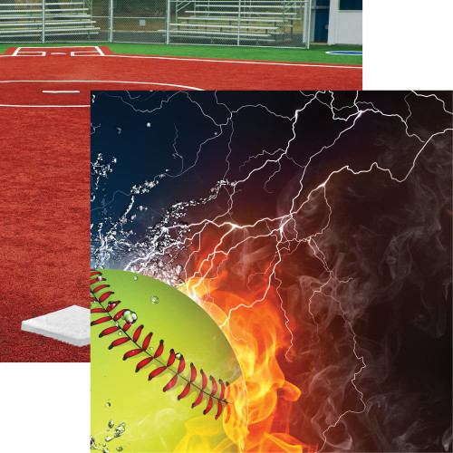 "Reminisce The Softball Collection ""2"" 12x12 Paper: Ice & Fire"