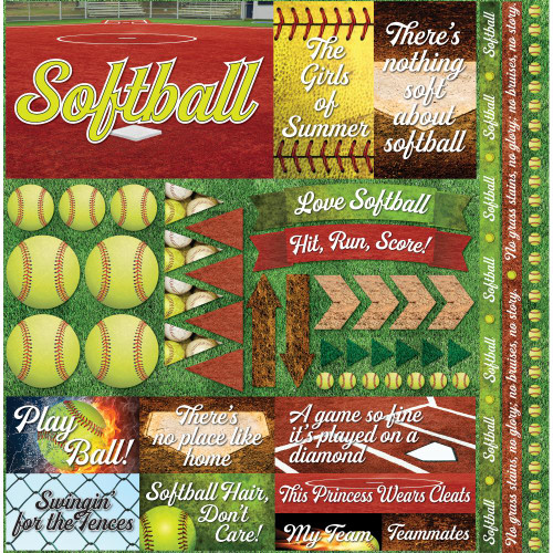 """Reminisce The Softball Collection """"2"""" 12x12 Poster Sticker"""