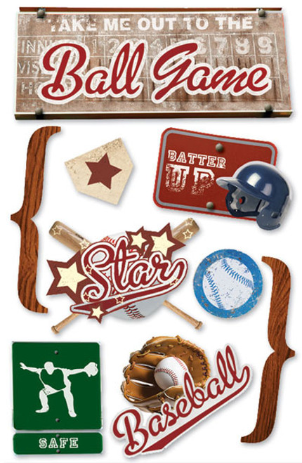 Paper House 3D Sticker: Baseball