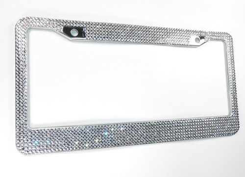 Best License Plate Frame >> Clear 7 Row Crystal License Plate Frame w/Screw Cap Covers
