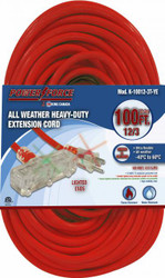 Extension cord, 100 ft., 12/3, tri-tap, lighted ends, red