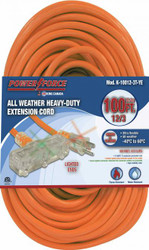 Extension cord, 100 ft., 12/3, tri-tap, lighted ends, orange