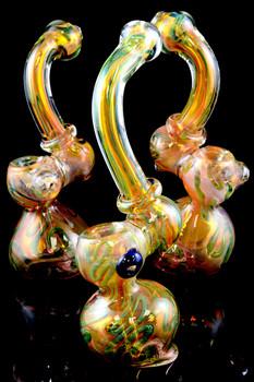 Large Color Changing Gold Fumed Sherlock Bubbler - B801