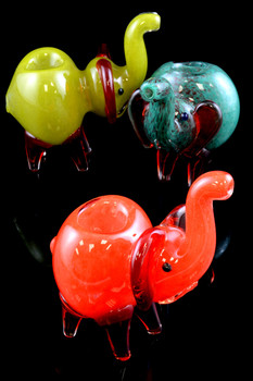 Frit Glass Elephant Pipe - AP185