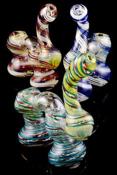 Color Changing Double Chamber Sherlock Bubbler - B872
