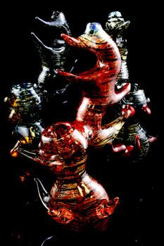 Large Outside Glass Spiky Sherlock Bubbler - B887