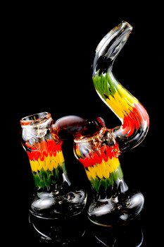 Large Sherlock Rasta Double Chamber Glass Bubbler - B891