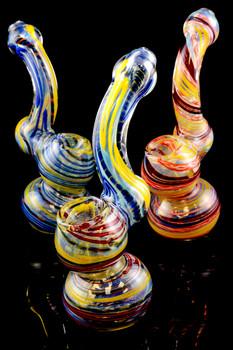 Medium Color Changing Striped Sherlock Glass Bubbler - B905