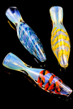 Color Changing Striped Glass Chillum - C205