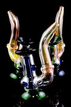 Large Gold Fumed Sherlock Glass Bubbler - B926