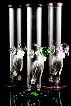 (US Made) Medium Glass on Glass Straight Shooter Water Pipe - WP1307