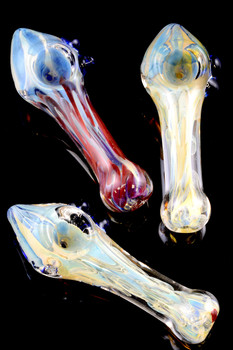 Small Silver Fumed Color Changing Glass Pipe - P1468