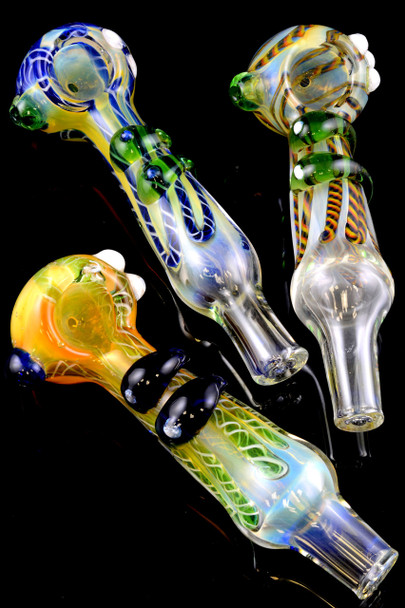 Color Changing Striped Glass Pipe - P1353