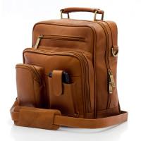 Muiska - Carlos - Men's Leather Cross Body Bag - Front View, Saddle