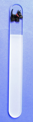 Glass foot file with Scottie Image