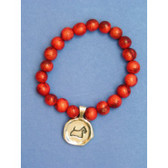 Red Acai Bead Stretch Bracelet with Scottie Seal