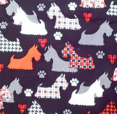 """Great Scotts"" Black Background Fabric"