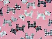 """""""Whiskers and Tails"""" Scottie Fabric in Pink"""
