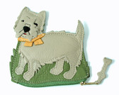 Ecru Leather Westie Coin Purse