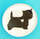 Glass Westie Button Magnet