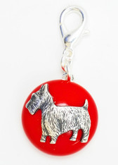 Maximal Art Silver Scottie on Red Charm