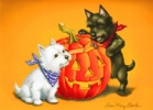 Scottie/Westie Jack o'Lantern Card