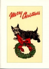 """Scottie and Wreath """"Merry Christmas"""" Card"""