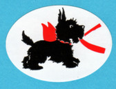 Scottie and Red Ribbon Oval Sticker