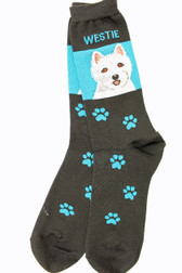 Blue and Black Westie Socks