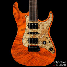 Suhr Standard Custom Waterfall Burl Maple Top Trans Orange Algae JS6U4N