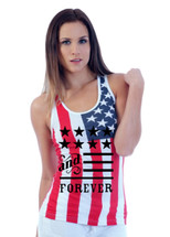 American and forever 4th of july RACER BACK TANK W US FLAG