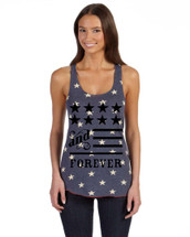 American and forever 4th of july Women's Racerback Tanktop White Star