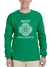 Men's Long Sleeve Irish Firefighter St Patrick's Patry Irish Tee
