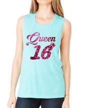 Women's Flowy Muscle Queen 16 Glitter Pink Sweet Sixteen Party