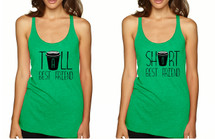Set Of 2 Tank Top Tall Short Best Friend Coffee Matching Tops