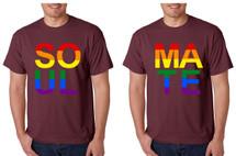Set Of 2 Men's T Shirt Soul Mate Couple Gay Pride Love Shirts